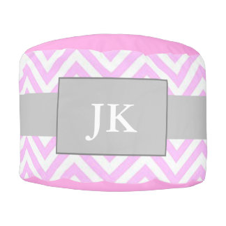 Monogrammed Pink & White Chevron Striped Pouf