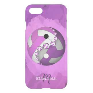 monogrammed pink women's yin and yang volleyball iPhone 8/7 case