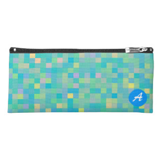 Monogrammed Pixel Art Multicolor Pattern Pencil Case