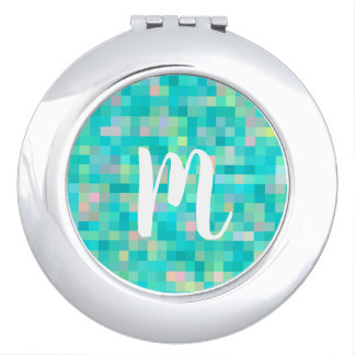 Monogrammed Pixel Art Multicolor Pattern Travel Mirrors