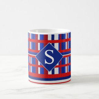 Monogrammed Plaid Patriot Red White & Blue Coffee Mug