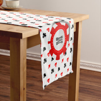 Monogrammed Poker Chips and Playing Cards Pattern Short Table Runner