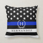 Monogrammed Police Styled American Flag Custom Throw Pillow