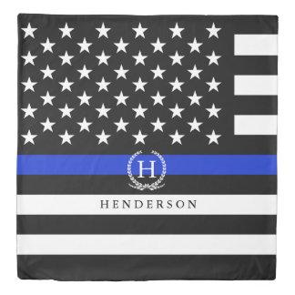 Monogrammed Police Styled American Flag Duvet Cover