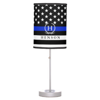 Monogrammed Police Styled USA Flag Full Stars Wrap Desk Lamps