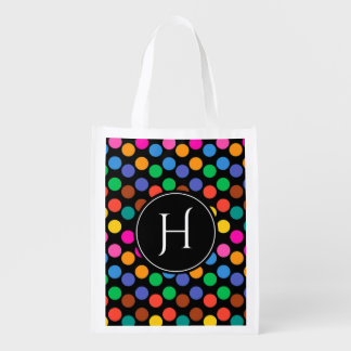 Monogrammed polka dot pattern in red blue black reusable grocery bag