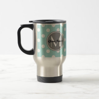 Monogrammed Polka Dots Pattern Gifts 15 Oz Stainless Steel Travel Mug