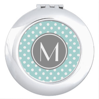 Monogrammed Polka Dots Pattern Gifts Mirrors For Makeup