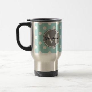 Monogrammed Polka Dots Pattern Gifts Stainless Steel Travel Mug