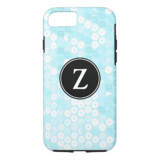 Monogrammed Powder Blue Sequin Glitter iPhone 7 Case