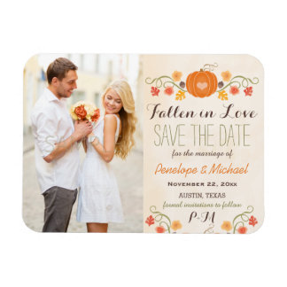 Monogrammed Pumpkin Fall Wedding Save the Date Magnet