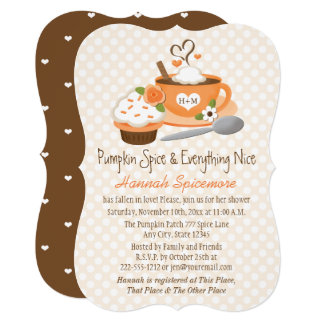 Monogrammed Pumpkin Spice Fall Bridal Shower Card