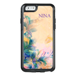 Monogrammed Purple And Blue Flowers OtterBox iPhone 6/6s Case