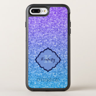 Monogrammed Purple And Blue Glitter OtterBox Symmetry iPhone 8 Plus/7 Plus Case
