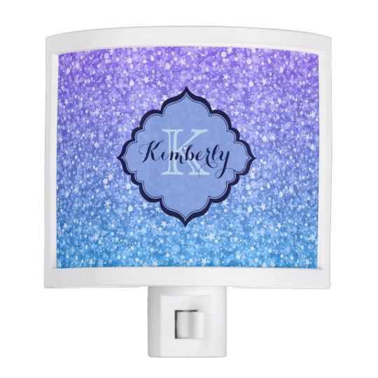 Monogrammed Purple And Blue Glitter Pattern Nite Lite