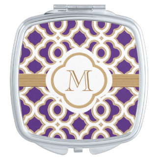 MONOGRAMMED PURPLE AND BRUSHED GOLD TRAVEL MIRROR