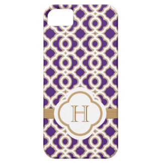 Monogrammed Purple and Gold Moroccan iPhone 5 Cases