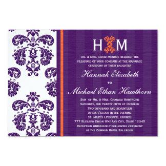 "Monogrammed Purple and Orange Damask Wedding 5"" X 7"" Invitation Card"