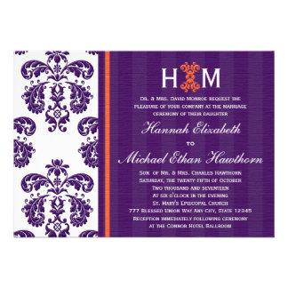 Monogrammed Purple and Orange Damask Wedding Custom Invitation