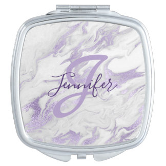 Monogrammed Purple and White Marble Compact Mirror