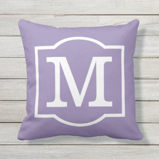 Monogrammed | Purple and White Throw Pillow