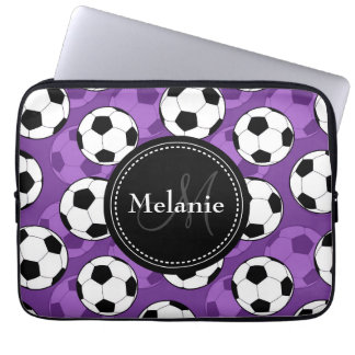 Monogrammed Purple Black Soccer Ball Pattern Computer Sleeve
