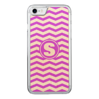 Monogrammed Purple Chevron Pattern Carved iPhone 8/7 Case