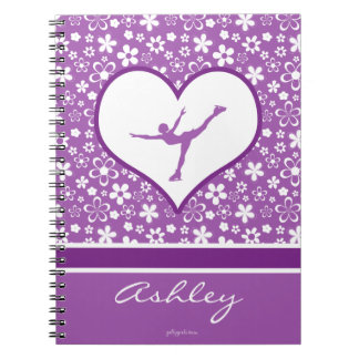 Monogrammed Purple Flowers Pattern Figure Skating Notebook
