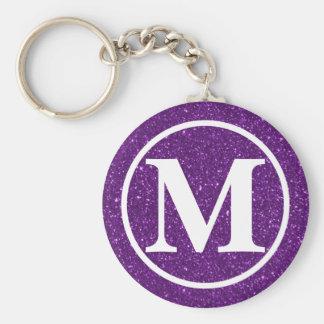 Monogrammed Purple Glitz BB Keychain