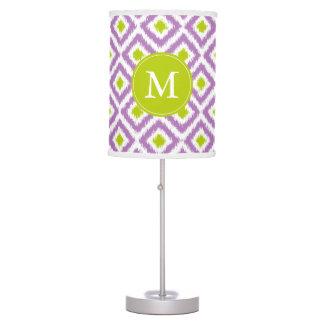Monogrammed Purple Green Diamonds Ikat Pattern Table Lamp