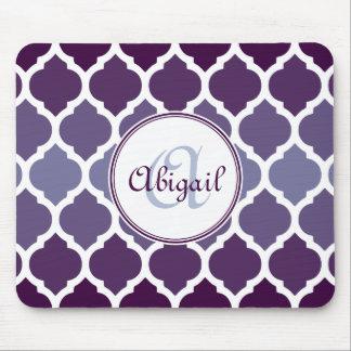 Monogrammed Purple Ombre Moroccan Lattice Pattern Mouse Pad