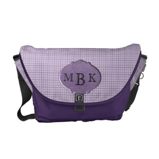 MONOGRAMMED PURPLE PLAID MESSENGER BAG TEMPLATE