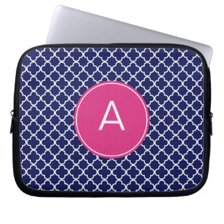 Monogrammed Quatrefoil Pattern Laptop Sleeve