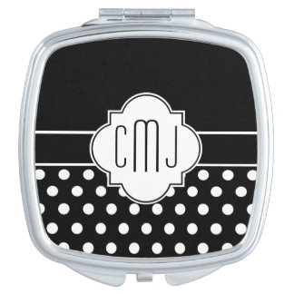 Monogrammed Quatrefoil Makeup Mirrors