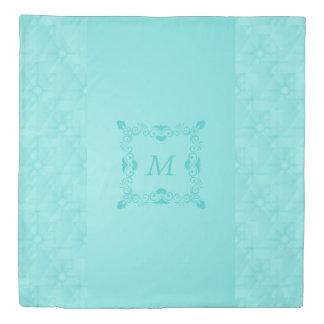 Monogrammed Quilt Textured Robin Egg Duvet Cover