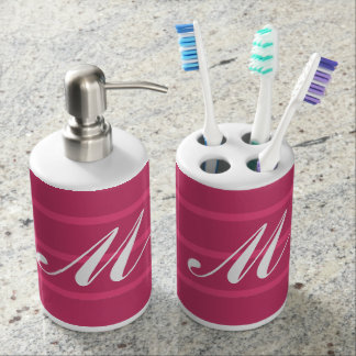 Monogrammed Raspberry Pink Stripes w White Initial Soap Dispenser And Toothbrush Holder