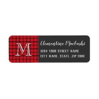 Monogrammed Red and Black Tartan Plaid