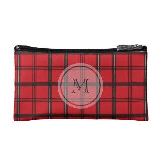 Monogrammed Red and Black Tartan Plaid Cosmetic Bag