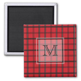 Monogrammed Red and Black Tartan Plaid Magnet