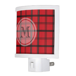 Monogrammed Red and Black Tartan Plaid Nite Lights