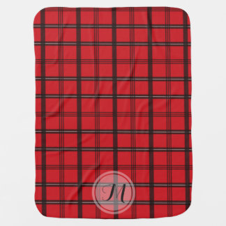 Monogrammed Red and Black Tartan Plaid Receiving Blankets