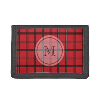 Monogrammed Red and Black Tartan Plaid Tri-fold Wallet