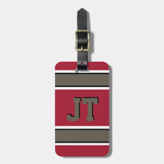 Monogrammed Red and Bronze Sport Stripes Luggage Tag