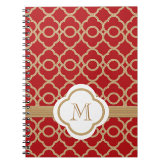 Monogrammed Red and Gold Moroccan Spiral Notebook