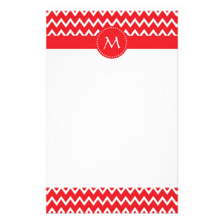 Monogrammed Red and White Chevron Pattern Stationery