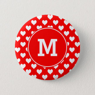 Monogrammed Red and White Heart Pattern 2 Inch Round Button