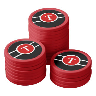 Monogrammed ~ Red Black and White Poker Chips