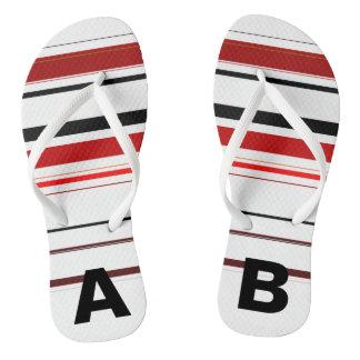 Monogrammed Red Black Beige Brown Stripes Flip Flops