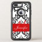 Monogrammed Red Black White Swirls Damask OtterBox Defender iPhone 8 Plus/7 Plus Case