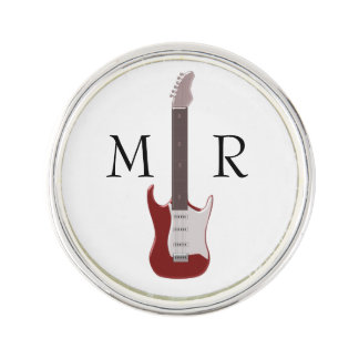 Monogrammed Red Electric Guitar Lapel Pin